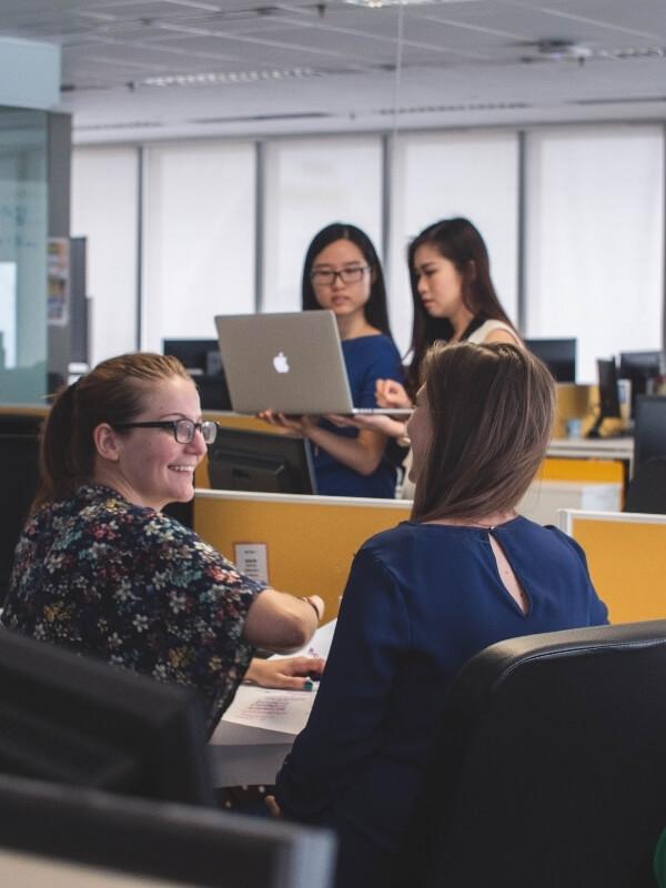 Team of women in tech office